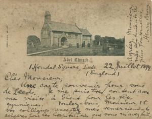 yorkshire, LEEDS, Parish Church of St John the Baptist at Adel (1899) Court Card