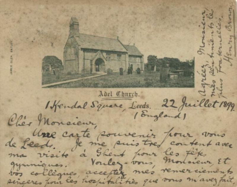 yorkshire, LEEDS, Parish Church of St John the Baptist at Adel (1899) Court Card
