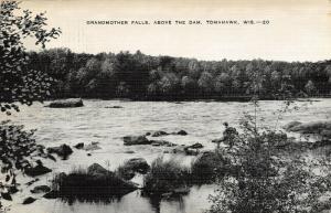 Tomahawk Wisconsin~Grandmother Falls Above Dam~1944 B&W Linen Postcard