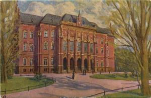 Poland Krakow Jagiellonski Jagell University vintage artist postcard
