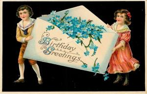 Victorian Boy & Girl Hold Exaggerated Envelope~Blue Forget-Me-Nots~Black GEL '08