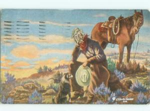 Linen signed WESTERN COWBOY BESIDE HIS HORSE AC6601