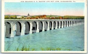Harrisburg, Pennsylvania Postcard Reading R.R. Bridge & Sky Line c1910s Unused
