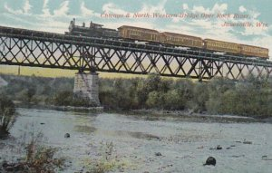 JANESVILLE , WI, 1900-10s ; Train, Chicago & North-Western Bridge Over Rock R...
