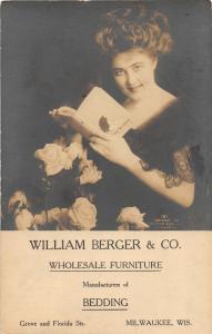 F15/ Milwaukee Wisconsin RPPC Postcard 1918 Berger Furniture Company