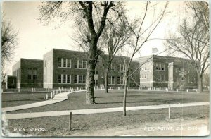 1940s ELK POINT South Dakota RPPC Real Photo Postcard HIGH SCHOOL Building View