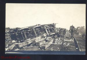RPPC OTIS KANSAS MISSOURI PACIFIC RAILROAD TRAIN WRECK OLD REAL PHOTO POSTCARD