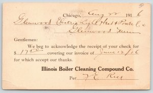 Chicago Illinois Boiler Cleaning Compound Co~1916 Postal To Glenwood MN Electric