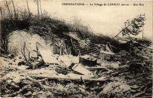 CPA Inondations - Le Village de LORROY detruit - Une Rue (436484)