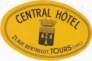 France Tours Central Hotel Yellow Vintage Luggage Label sk2141