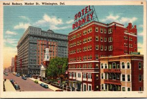 Vtg 1940s Hotel Rodney Market Street Wilmington Delaware DE Linen Postcard