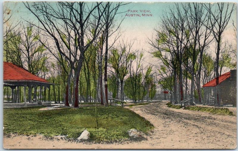 Austin, Minnesota Postcard PARK VIEW - Hand-Colored - Schleuder Paper Co. 1911