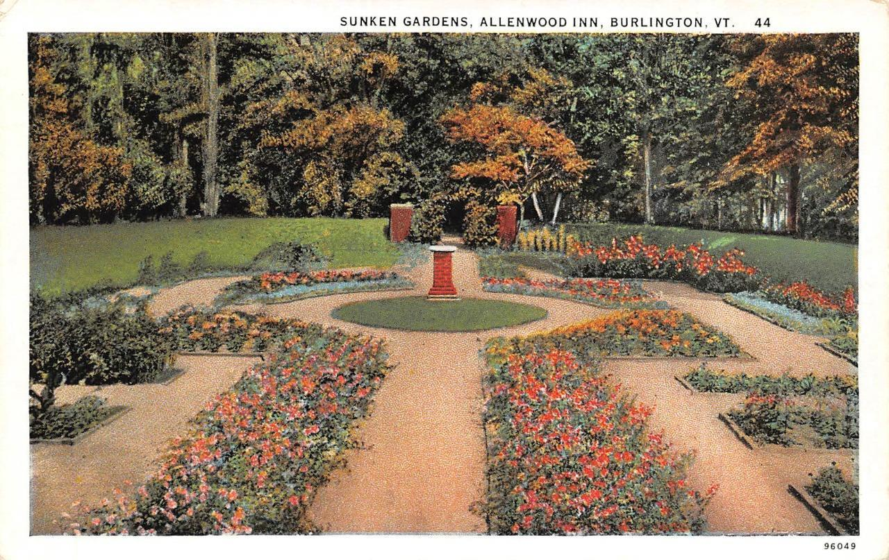 BURLINGTON, VT Vermont SUNKEN GARDENS~Allenwood Inn c1920\'s Postcard ...