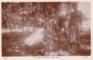 RP: SIERRA LEONE, Africa, 20-40s; Topless Girl, The Open-Air Fireside