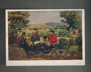 Mint 1939 USSR Soviet Union Postcard Young Joseph Stalin Student Learning