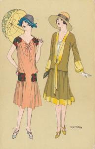 ART DECO ; WAITRED ; Dual Female Fashion portraits #1, 1910-20s