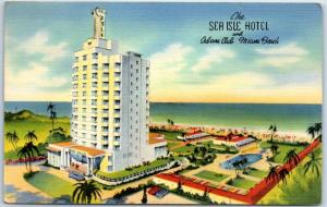 Miami Beach, Florida Postcard SEA ISLE HOTEL & Cabana Club Aerial View Linen 194