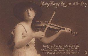 Violin Player Glamour Greetings Happy Birthday Antique Postcard