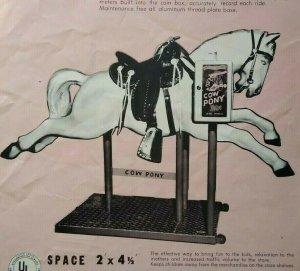 Cow Pony Ride FLYER Original Amusement Kiddie Horse Art Print 1950's All-Tech