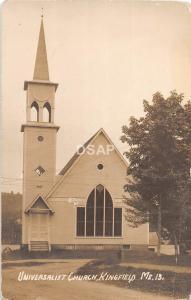 A54/ Kingfield Maine Me RPPC Real Photo Postcard 1912 Universalist Church
