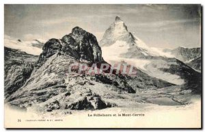 Old Postcard The Riffelhorn and the Matterhorn