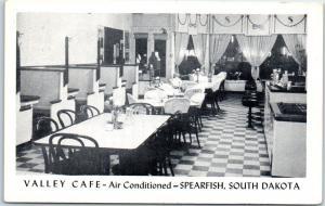 Spearfish, South Dakota Postcard VALLEY CAFÉ Restaurant Interior c1950s Unused