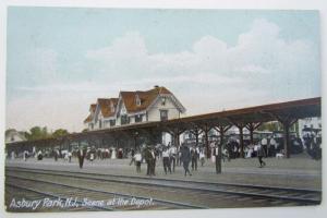 ASBURY PARK NJ RAILROAD DEPOT train railway station ANTIQUE POSTCARD