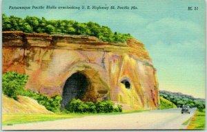 1940s PACIFIC, Missouri ROUTE 66 Postcard Picturesque Pacific Bluffs Linen