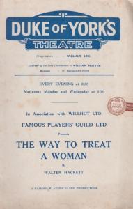 Way To Treat A Woman Walter Hackett Comedy Duke Of Yorks Theatre Programme