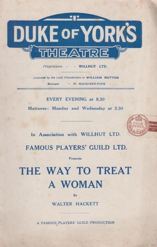 Way To Treat A Woman Walter Hackett Marion Lorne Duke Of Yorks Theatre Programme