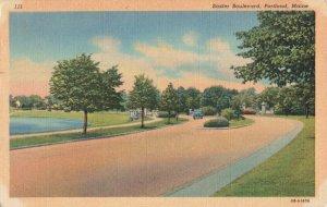 Postcard Baxter Boulevard Portland Maine