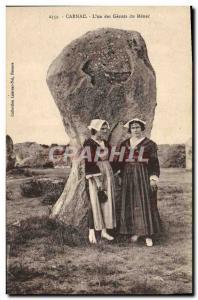 Old Postcard Dolmen Menhir Carnac the & # 39un of giants Menec Folklore