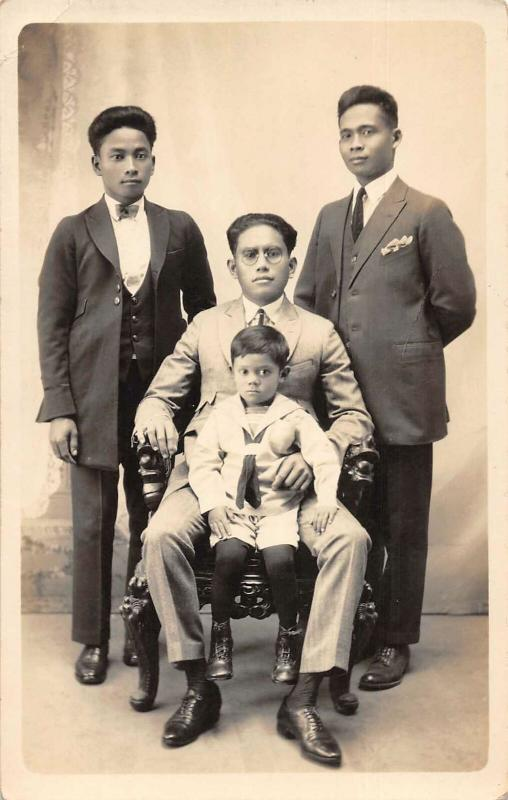 Philippines Men in Suits Boy in Sailor Outfit Real Photo Postcard JE229710