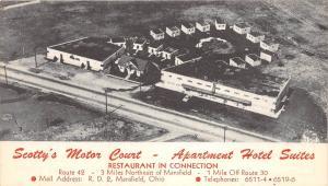 Ohio Postcard MANSFIELD Richland County SCOTTY'S MOTOR COURT Apartment Hotel