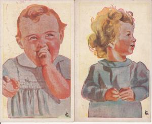 Artist signed vintage postcards children caricatures boy & girl