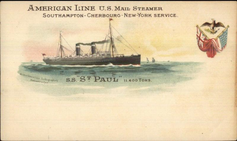 American Line Steamship SS St. Paul US Mail c1900 Private Mailing Card