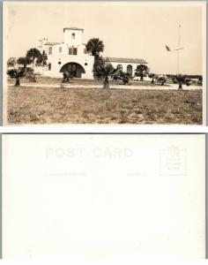 VINTAGE RPPC REAL PHOTO POSTCARD - NICE HOUSE w/ AMERICAN FLAG