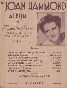 The Joan Hammond Album of Favourite Arias Sheet Music Book