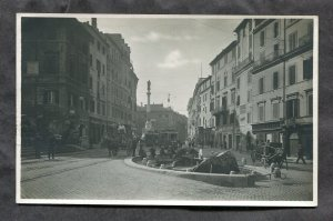 dc334 - ROMA Italy 1920s Piazza di Spagna. Stores. Trams. Real Photo Postcard