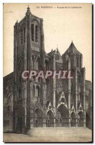 Old Postcard Bourges Facade of the Cathedral