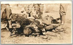 COLUMBUS NM BURNING THE BODIES OF DEAD BANDITS ANTIQUE REAL PHOTO POSTCARD RPPC