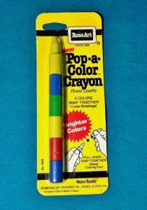 1985 Vintage Rose Art Pop-A-Color Crayon RARE 6 Colors Snap Together Retro Kids