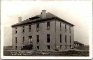 POPLAR, Montana RPPC Real Photo Postcard GIRLS' DORMITORY / 1914 MT Cancel