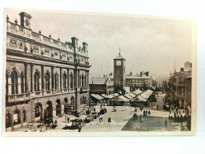 Vintage Postcard Town Hall and Market Square Black Burn Street Scene