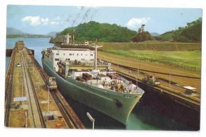 Panama Canal Miraflores Lock Grace Line Ship Ecuador Stamp