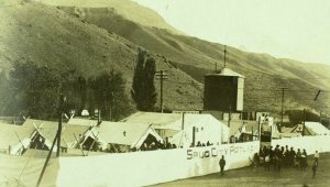 Circa 1905-10 RPPC Spud City Potlach Ashcroft, BC Tents Real Photo Postcard F1