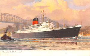 White Star Line Cunard Ship Post Card, Old Vintage Antique Postcard RMS Saxon...