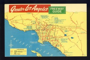 Los Angeles. California/CA Postcard, Greater LA Freeway Road Guide Map