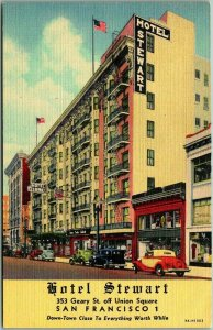 San Francisco, California Postcard HOTEL STEWART 353 Geary Street Linen c1940s