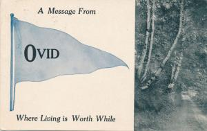 A Banner Message from Ovid, MI Michigan - Where Life is Worth While - pm 1912